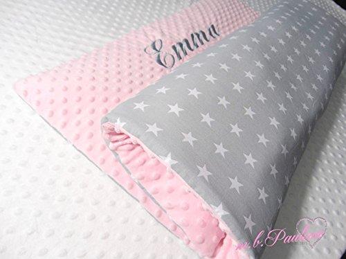 ne Kuscheldecke Decke mit Name Sterne Baby Bettdecke und Kissen Neugeburt Decke Personalisiert Neugeborene Decke rosa Babydecke (Mädchen Personalisierte Schlafsack)