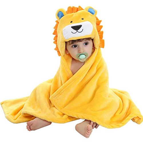 DINGANG Kids Baby Bath Towels Cute Lion Hooded Ultra-soft Fleece Bathing Swimming Wrap Blanket,0-6 Years Old