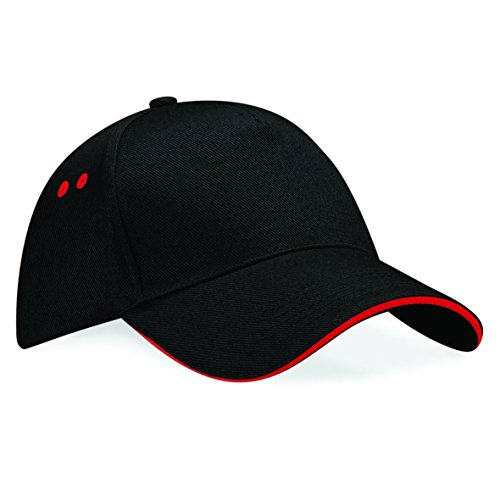 Contrast Sandwich-Schirm Baseballkappe von Beechfield - Black/ Classic Red (Streifen-print Cap)