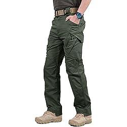 TACVASEN Hombres Al aire libre Ligero Casual Caza Pantalones de carga Gris Verde