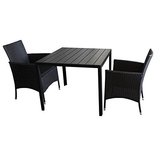3tlg. Balkonmöbel Set Gartentisch, Polywood Tischplatte, Schwarz, 90x90cm + 2x Rattansessel, Polyrattanbespannung Schwarz, inkl. Sitzpolster