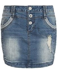 Sublevel Damen Jeansrock kurz im Used-Look | Frauen Mini-Rock aus Stretch Jeans mit Destroyed Parts