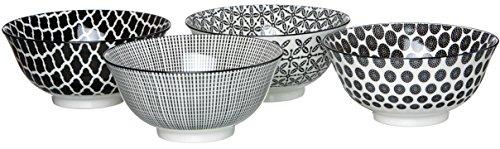 Ritzenhoff & Breker Lot DE 4 Bols, Porcelaine, Blanc et Noir, 15,5 x 15,5 x 7,5 cm