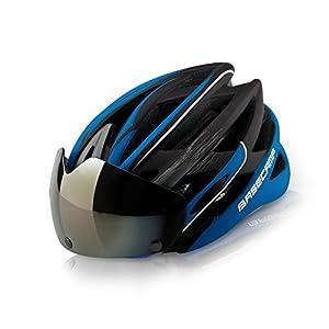 Basecamp Casco de ciclismo con gafas Ultralight Casco de seguridad para el transporte Casco de seguridad ajustable Ciclismo de carretera Bicicleta de montaña Casco de bicicleta Ciclismo Montana Casco (Blue)
