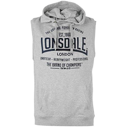 Lonsdale-Scatola da uomo senza maniche con cappuccio da felpa con cappuccio felpa con cappuccio Top, Grey Marl, M