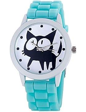 Loveso-Armbanduhr elegant Frauen-nette Karikatur Katze Kitty Silikon-Quarz-Uhr-Armbanduhr_Himmel blau