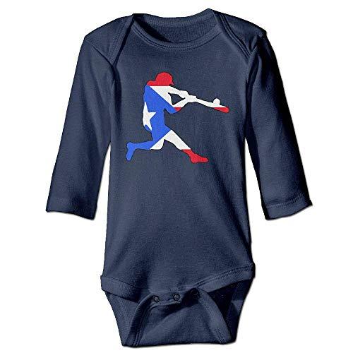 WBinHua T-Shirts für Baby-Jungen,Bertha Puerto Rico Baseball Flag Baby Newborn Long Sleeve Onesies Bodysuits Hut Puerto Rico