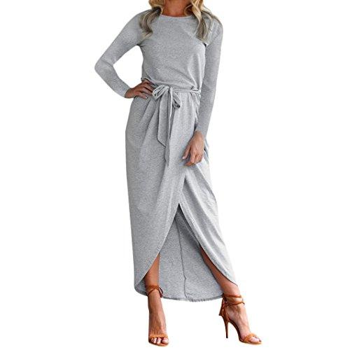 MRULIC Damen Edles Boho langes MaxiKleid Abend Partei Strand kleidet Sundress Kostüm mit Einem Körper, der Gurt formt (EU-44/CN-XL, Y-Grau) (Damen Edle Indische Kostüm)