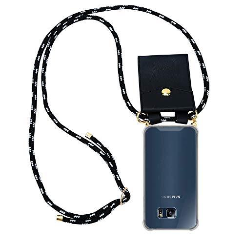 Cadorabo Handy Kette für Samsung Galaxy S6 Edge in SCHWARZ Silber - Silikon Necklace Umhänge Hülle mit Gold Ringen, Kordel Band Schnur und abnehmbarem Etui - Schutzhülle