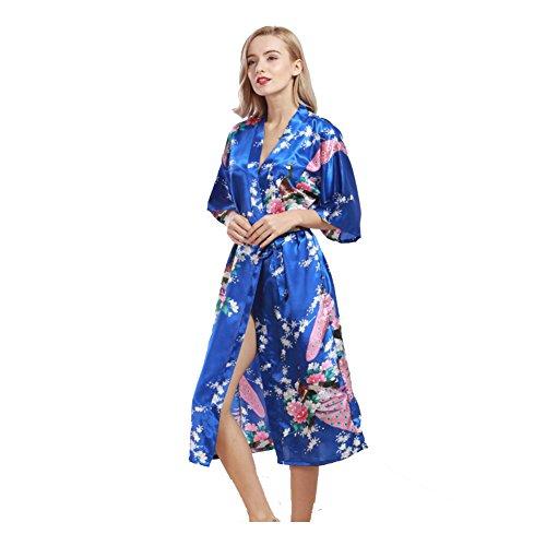 Donna Raso Accappatoio Corto,Pavone Fiore Sexy Seta Serico Elegante Vestaglie Camicia da Notte Vestiti Pigiama Blu
