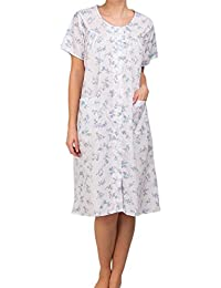 Lady Olga Poly Cotton Button through Nightie Floral Blue or Pink Size 10-32 1084