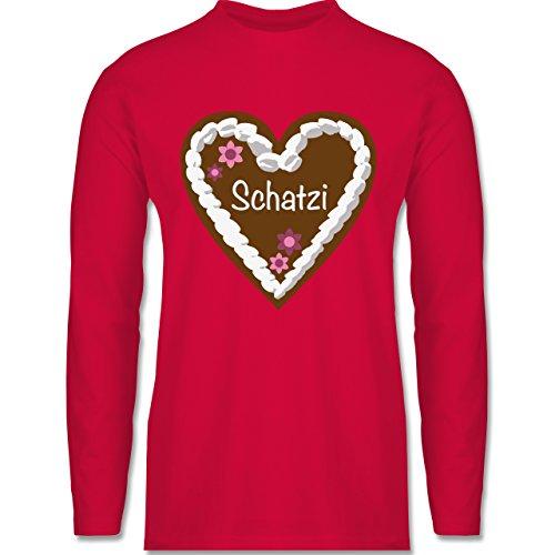 Oktoberfest Herren - Lebkuchenherz Schatzi - Longsleeve / langärmeliges T-Shirt für Herren Rot