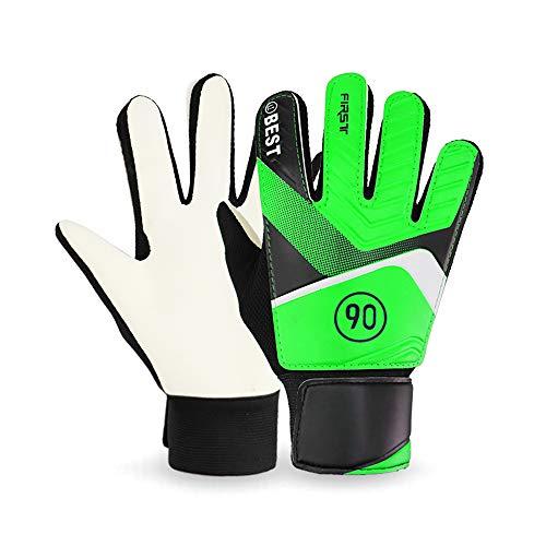 Explopur 2 Stück Torwarthandschuhe für Kinder, atmungsaktive Latex-Fußball-Sporthandschuhe - Fingerschutz-Torwarthandschuhe - Blau/Grün/Orange Optional - 5# / 6# / 7# (5,9in-7,0in) Optional