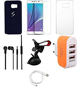 NIROSHA Tempered Glass Screen Guard Cover Case Headphone USB Cable Mobile Holder Charger for Samsung Galaxy Note 5 - Combo