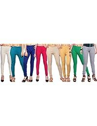 Comix Cotton Hosiery Fabric Women Leggings Combo Set of 8(AGSPL-3156-VXY-LG-10-CMB8-VE22-L)