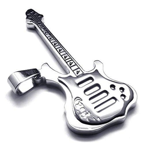 Epinki Edelstahl Herrenkette, Unisex Anhänger Halskette Schwarz Poliert Gitarre 18 26