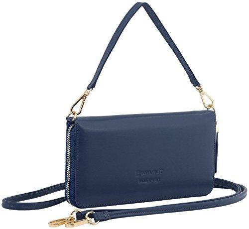 StilGut Smart Wallet in pelle - elegante clutch, portafoglio, custodia per smartphone e borsa a tracolla, Blu Scuro Nappa blu scuro nappa