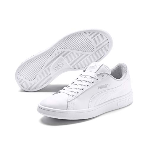 PUMA Smash v2 L Jr, Sneakers Basses Mixte Enfant, Blanc White White, 37 EU