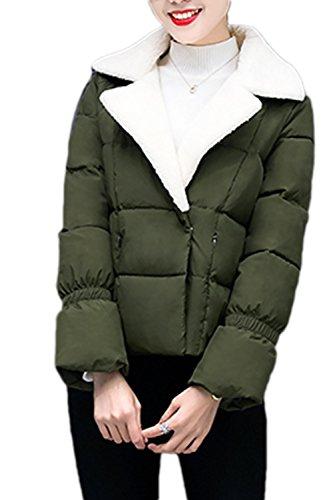 Élégant Patchwork laine courte vêtements manteau des femmes green