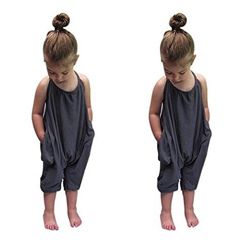 Cebbay Licou de bébé fille Barboteuse Coton mélangé solide monobloc Legging pour femme, gris, 2-3 Years