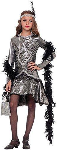 e Herstellung Mädchen Deluxe 7 Stück Silber 1920s Jahre 20's Flapper Tänzer mit Boa & Perücke Kostüm Kleid Outfit 3-10 Jahre - 8 years (Mädchen Schwarz Flapper Kostüme)