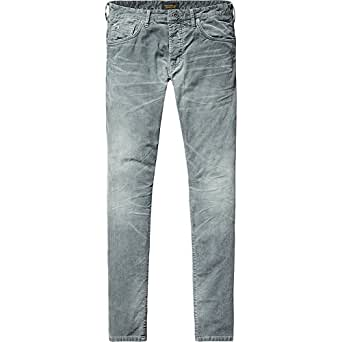 SCOTCH AND SODA - - Homme - Pantalon 5 Poches Velours Lavé Gris pour homme - 28/32