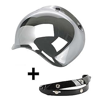 Visier Bubble Drei Knöpfen klappbar Spiegel verspiegelt silber universal-Helm Jet Kompatibel mit Helme Biltwell Bell DMD Bandit AFX Nolan AGV