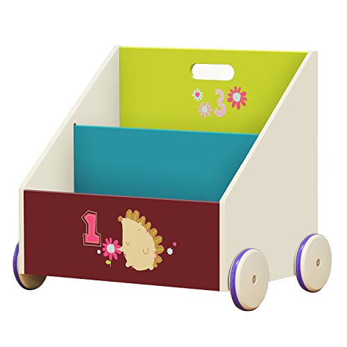 Labebe Kinder Bücherregal, Holz Standregal with Räder, Grüner Igel 2-in-1 Bücherregal Für Kinder 1-5 Jahre Alt, Bücherregal Holz/Klein Regal Bücher Kinder/Bücher Regal Kinderzimmer/Bücherregal - Holz-5-regal Bücherregal