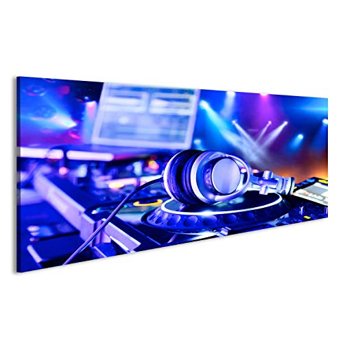 bilderfelix® Acrylglasbild Glasbild DJ-Mixer mit Kopfhörern im Nachtclub Wandbild, hochglanzpoliert GRL (Kopfhörer Dj-mixer)