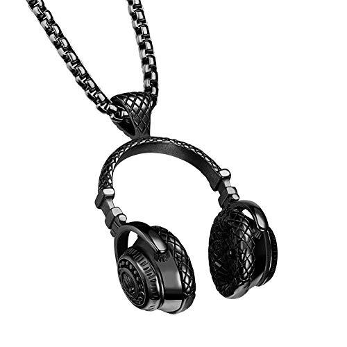 XBYMEN Herren Edelstahl Musik Kopfhörer DJ Kopfhörer Anhänger Biker Halskette
