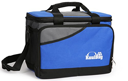Large and foldable 15L (3,2 gallons) cooling bag from Kuulbag for car travel, sports and outdoor activities. Including shoulder strap