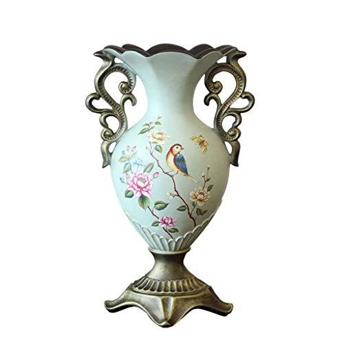 JXLBB Paon Bleu Fleurs Plantes Plantes Fleurs Résine Pastorale Américaine Grands Vases Pays Pastoral Européen Décoration Craft Vases Salon Porche