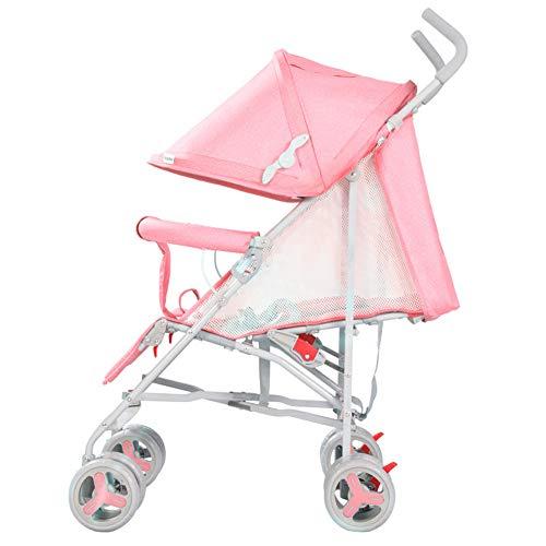 DYFAR Kinderwagen Leicht und tragbar Kinderwagen Falten schlank für Ultra-kompakte 5-Punkt-Sicherheit, einfache Einhand-Falten, pink