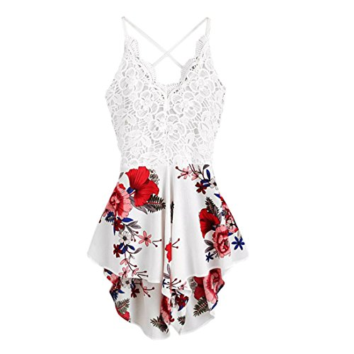 Hmeng Sommer Floral Bedruckte Jumpsuit Frauen Halfter ❤️ärmellose breite Lange Hosen Jumpsuit Strampler Lace Summer Shorts Jumpsuit S/M/L/XL (Weiß, XL)
