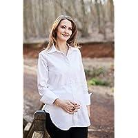 Hamile Gömlek: Mamma Lattes Klasik Yan Yırtmaçlı Hamile ve Emzirme Gömleği Baharlık Esnek Kumaş Terletmeyen Beyaz Siyah 38-44 EU