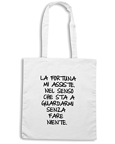 T-Shirtshock - Borsa Shopping TDM00151 la fortuna mi assiste Bianco