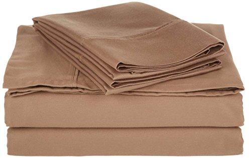 PC Diana Lin 100% coton Drap de lit Ensemble – 400 fils Satin tissé – Naturel, doux, 35 cm de profondeur de linge de lit Luxueux de qualité – 4 pièces de poche (Beige solide Euro Unique Ikea)