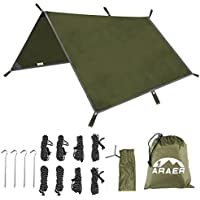 """Camping Tent Tarps,Waterproof Hammock Rain Fly Shelter, Ripstop Sunshade with 4 Stakes and 8 Ropes, Portable Lightweight Snowproof Car Tarpaulin for Travel Hiking Backpack Fishing ,114"""" x 114""""/9.5ftx9.5ft"""