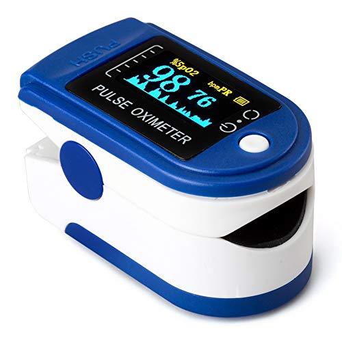 ZDHF Pulsoximeter Blutsauerstoffsättigungsmonitor Fingerspitze Professionelles tragbares OLED-Display zur Messung von SpO2-Wert und Herzfrequenz,Blue