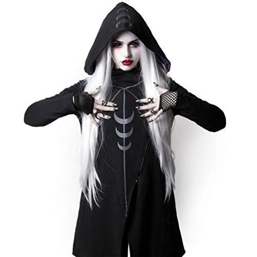 Enfei Coole Frauen Cosplay Kostüm Mantel Unregelmäßige Kapuzenoberteile Langer Mantel Gothic Warm Schwarz Cape Mantel Pullover