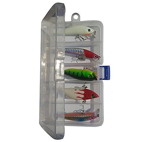 aiyuda 5leurres pour pêche en eau profonde leurres Popper Leurre flottant Crochets appâts Crankbait pour pêche avec boîte de rangement 5 pcs with box