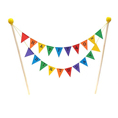 amazing buntings, Happy 40th Birthday, Geburtstag Kuchentopper, Regenbogenfarben, Vollständig zusammengebaut, Hochwertige Handgefertigte Dekoration, 211