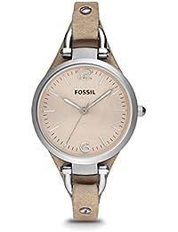 FOSSIL Montre Georgia femme / Montre-bracelet vintage avec cadran beige et bracelet élégant en cuir sable - Boîte de rangement et pile incluses