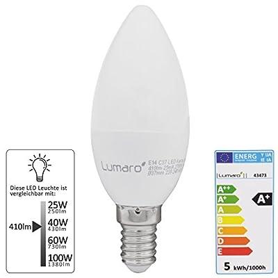 Lumaro LED Kerze 5er | E14 5W | Ersetzt 40w Lampe | 410 Lumen Glühbirne | 2700 Kelvin | C35 Leuchtmittel | warmweiss von abalando GmbH