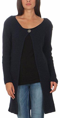 malito Damen lange Strickjacke   Cardigan im Grobstrick Look   Weste mit Wolle   Mohair - Jacke - Mantel 7020 (dunkelblau)