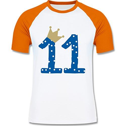 Geburtstag - 11. Geburtstag Krone Junge Elfter - zweifarbiges Baseballshirt für Männer Weiß/Orange