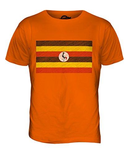 CandyMix Uganda Kritzelte Flagge Herren T Shirt Orange
