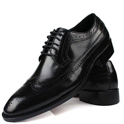 GRRONG Herren Lederschuhe Des Formalen Kleides Echtes Leder Atmungsaktiv Schwarz Und Braun Black
