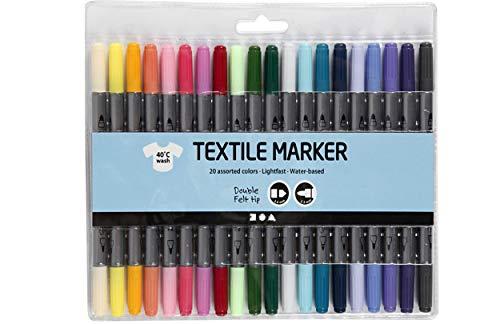 Stoffmalstifte Textilmalstifte Strichstärke: 2,3+3,6 mm, Zusätzliche Farben, 20 Stck.