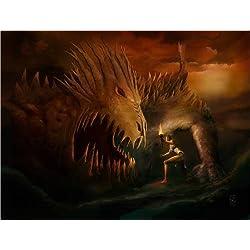 Cuadro sobre lienzo 120 x 90 cm: FIRE FOR THE DEAD DRAGON de Rupert Schneider - cuadro terminado, cuadro sobre bastidor, lámina terminada sobre lienzo auténtico, impresión en lienzo